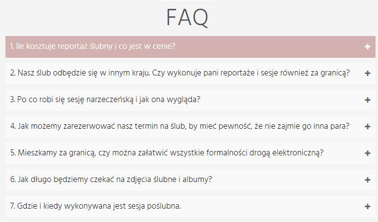FAQ na stronie www dla firmy