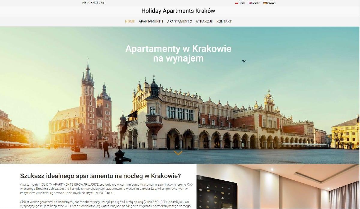 przykład strony internetowej dla apartamentów