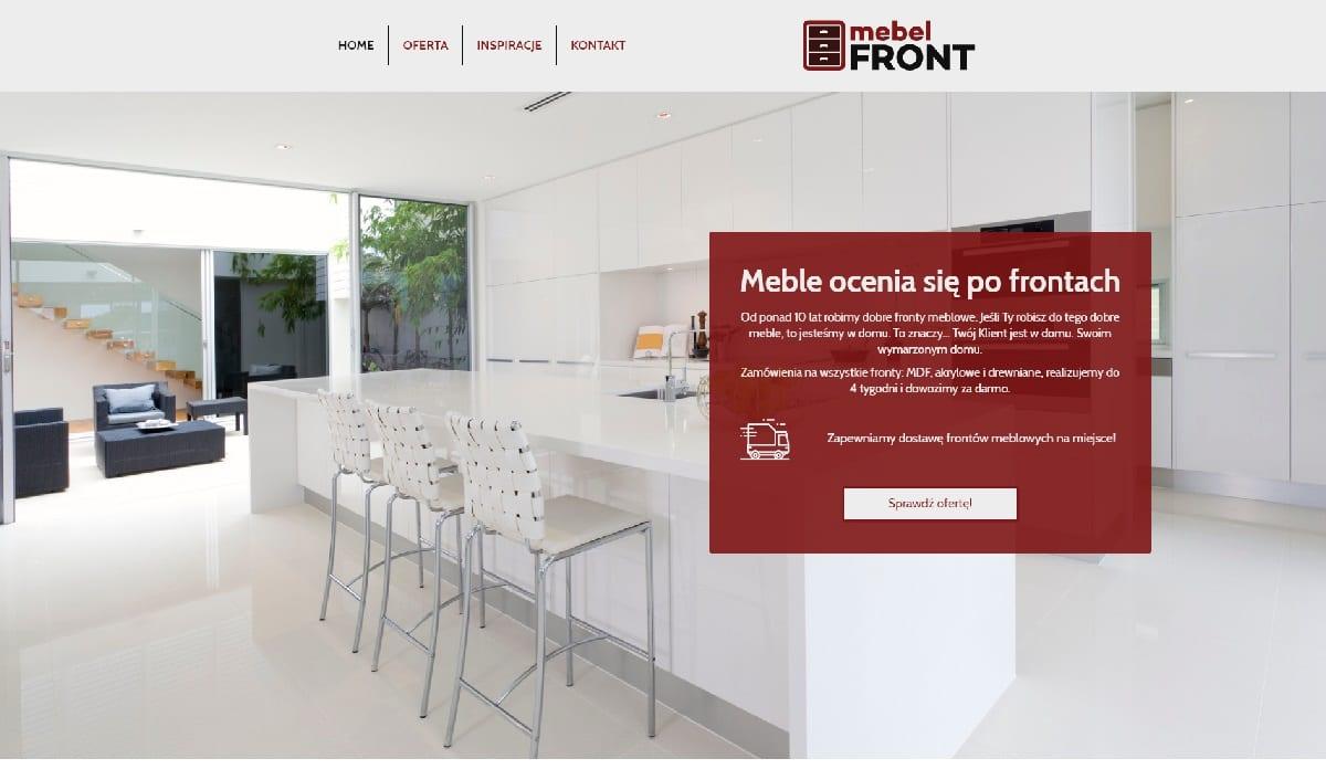 przykład strony internetowej dla producenta frontów meblowych